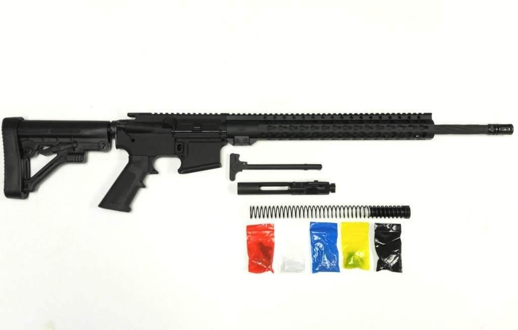 AR-15 RIFLE KIT, 20″ PHOSPHATE SPIRAL FLUTED BARREL, WITH 80