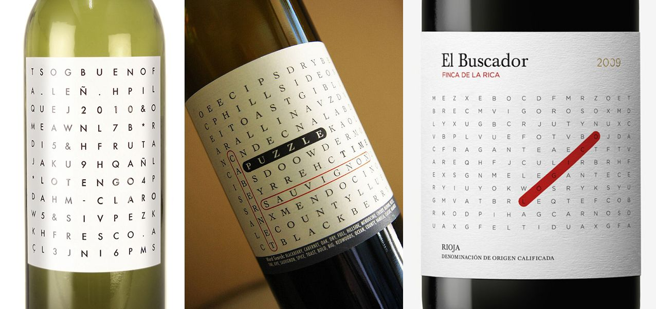 Word Search Puzzle Wine Labels  WhiskeyLiquor Packaging