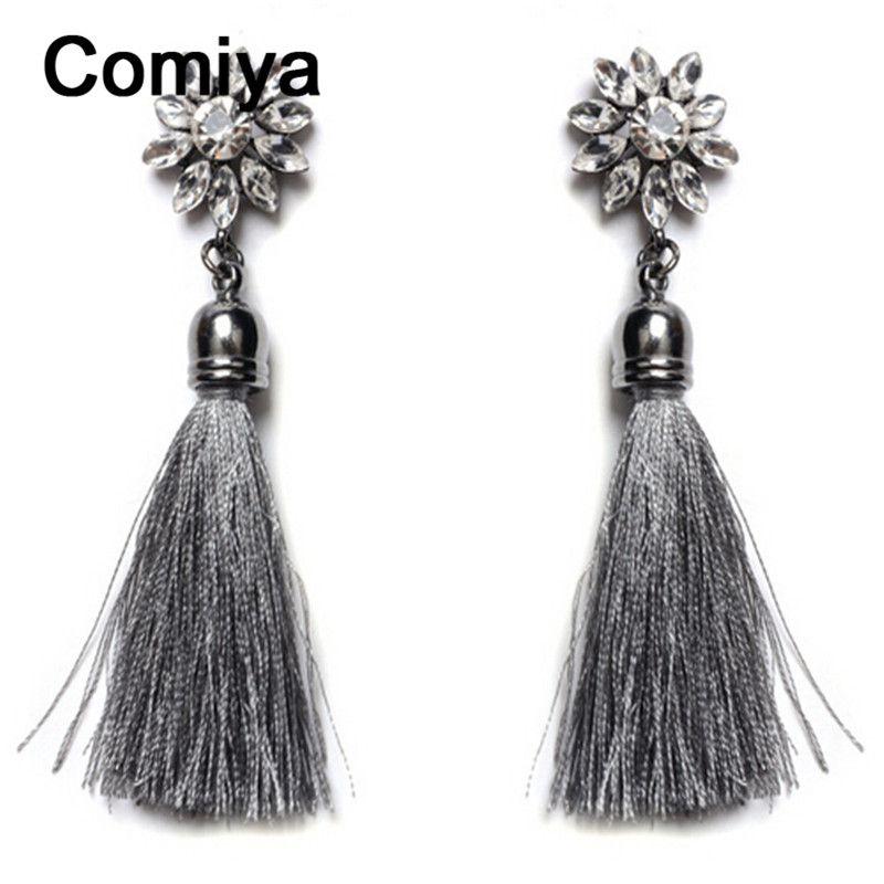 Comiya moda progettato filo nappa orecchini per le donne strass mosaico brincos vintage dichiarazione della boemia orecchino di goccia