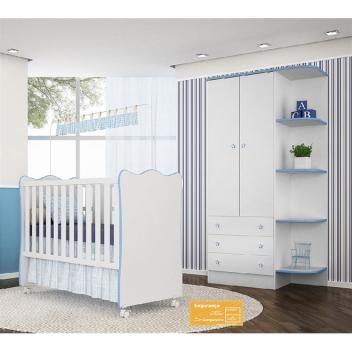 a82afa14b Jogo de quarto de bebê doce sonho qmovi 2 peças com berço e guarda-roupas