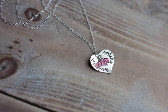 Hand Stamped Heart Necklace - Sterling Silver - Children's Names - Mother's Necklace - Twins Necklace - Mommy Necklace - Christmas Gift