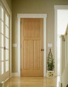 White Skirting And Door Frame Wood Door Remodel Pick Me Ups
