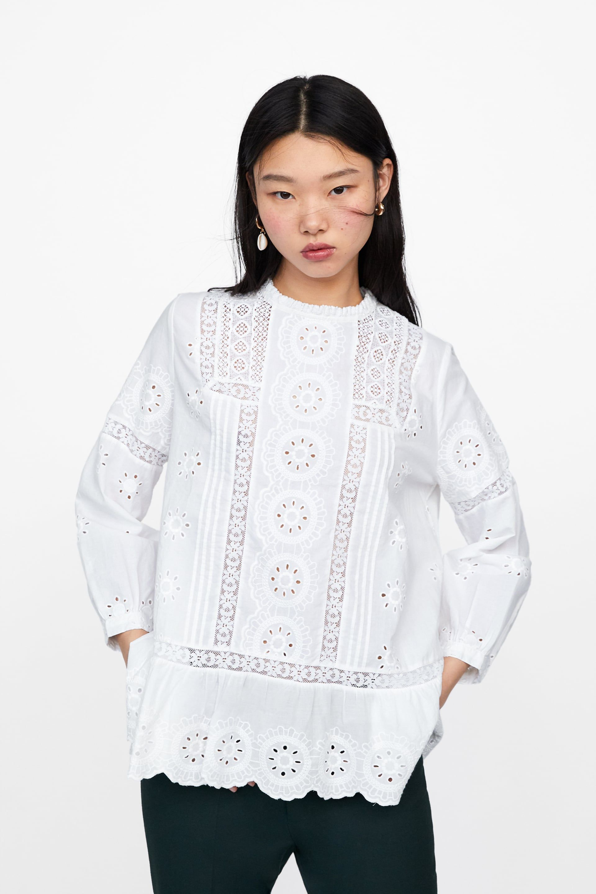 0d70556608e759 Openwork embroidery blouse in 2019 | My Style | Blouse, Ruffle ...