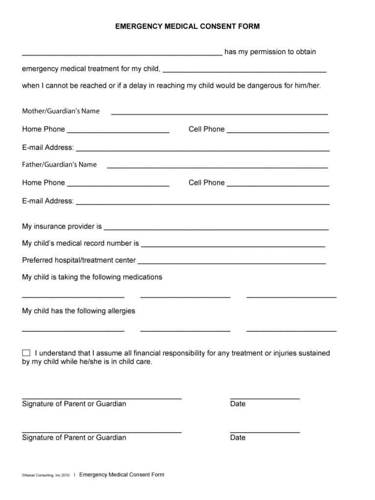 medical consent form preschool Medical consent form children