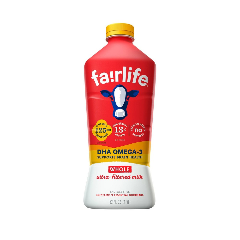 Fairlife Lactose-Free DHA Omega-3 Ultra-Filtered Whole Milk - 52 fl