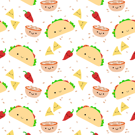 Colorful Fabrics Digitally Printed By Spoonflower Taco Tuesday Taco Wallpaper Mexican Pattern Food Wallpaper
