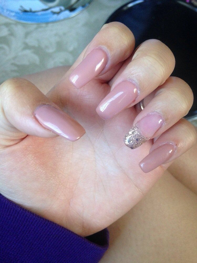 Nails by Mimi, nude Coffin Shaped acrylics. | Yelp | Acrylic Nail ...