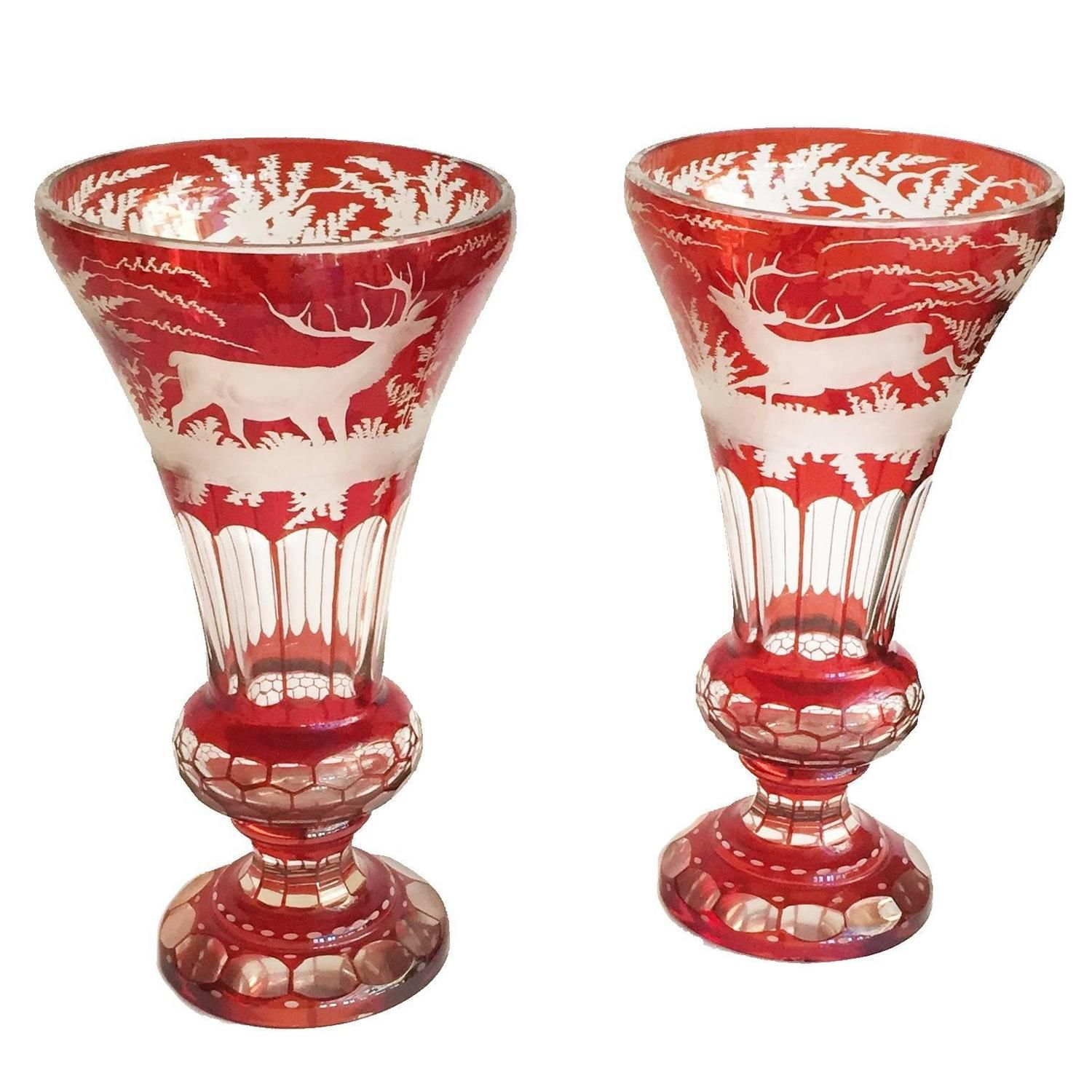 German Czech Bohemian Pair Of Ruby Red And Clear Glass Mantel Vases 1stdibs Com Glass Antique Glass Ruby Red