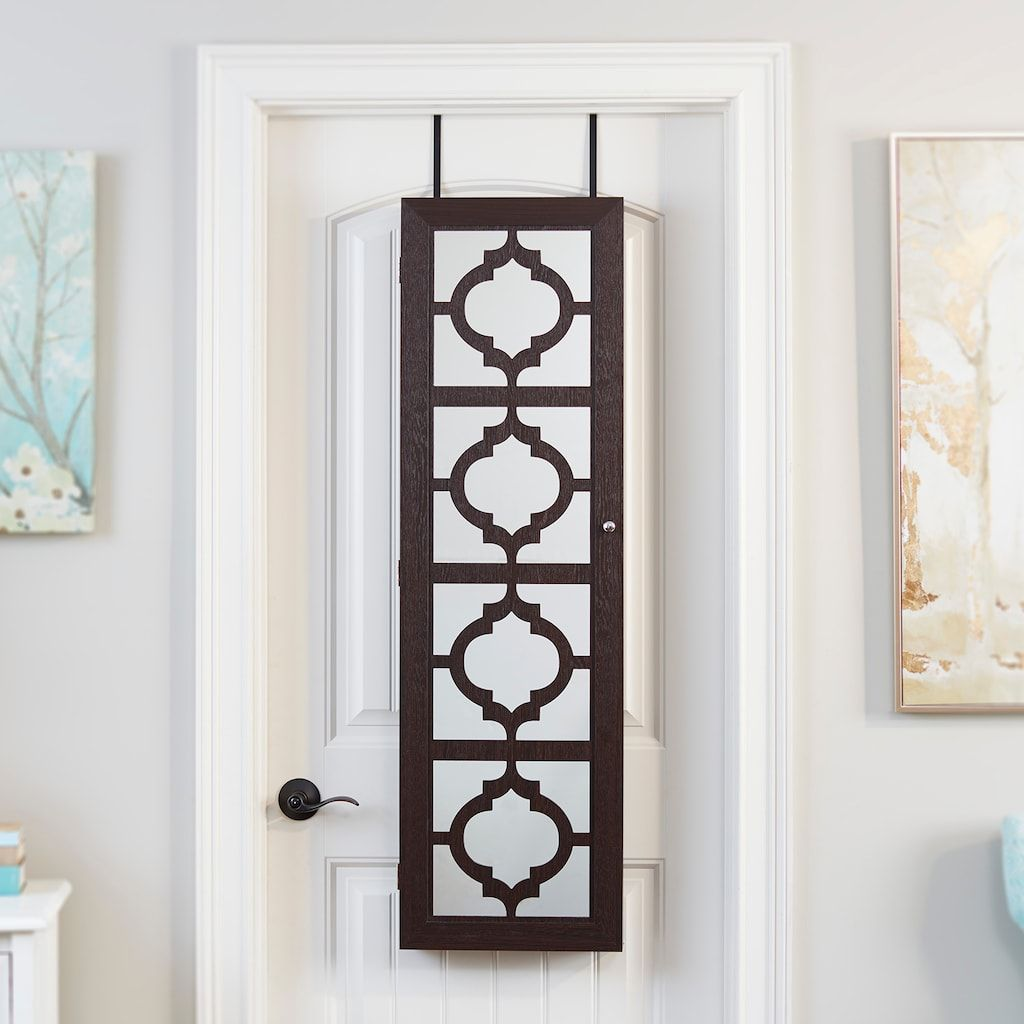 InnerSpace Moroccan Trellis Wall U0026 Over The Door Mirror Jewelry Armoire,  Brown