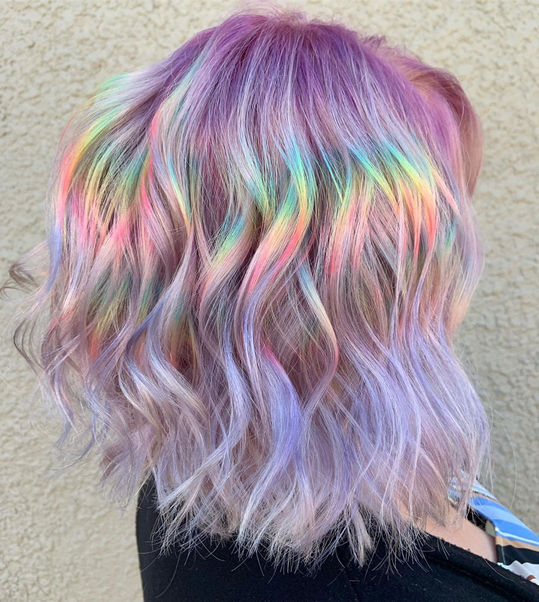 Touring Rainbow Bob Version With Added To The Lightener And Once More To The Added Lightener Rain Holographic Hair Hair Styles Rainbow Hair Color