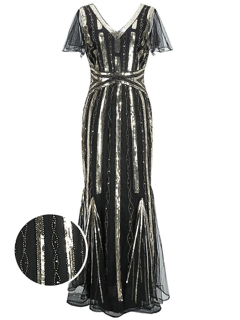 1920s Cap Sleeve Sequined Embellished Dress Retro Stage Chic Vintage Dresses And Accessories In 2020 Embellished Dress Dresses Sequin Evening Dresses