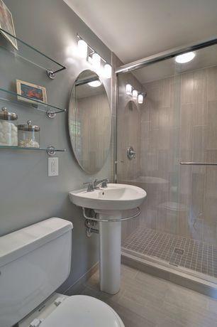 Contemporary 3/4 Bathroom with Gatco Designer Chrome Glass Bathroom ...