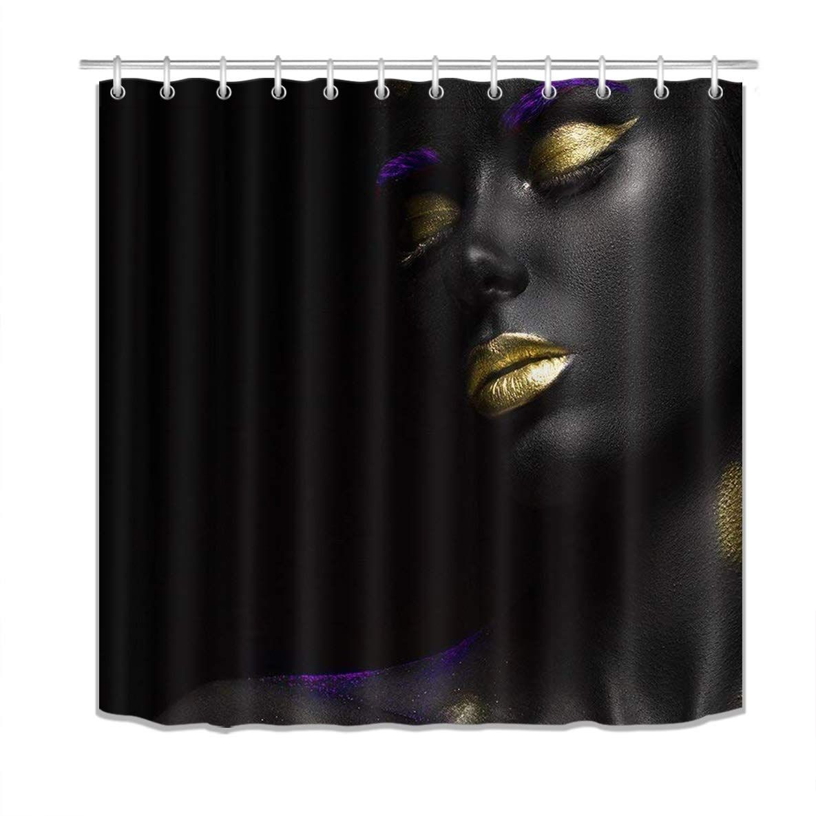 20 60 Lb Afrocentric Shower Curtain 3d Printing Gold Lips