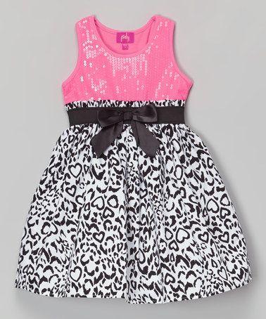 847e72511e1c Loving this Pink & Black Sequin Bow Dress - Toddler & Girls on #zulily!  #zulilyfinds