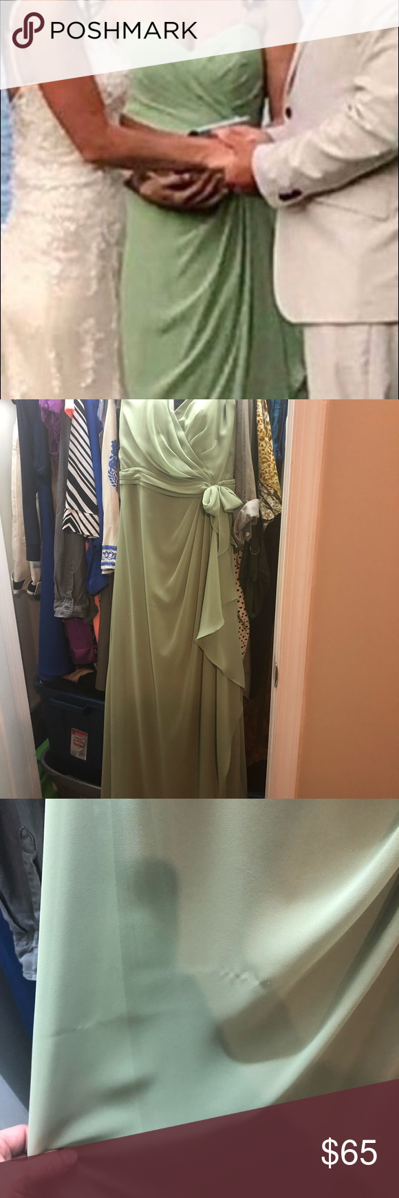 Sage green dress Beautiful, light weight safe green gown. Wore as bridesmaid ensemble. Slight snag in fabric as seen in pic but hides very well with the way the dress falls. Worn once, Dry cleaned. Alexia Designs Dresses Wedding #sagegreendress