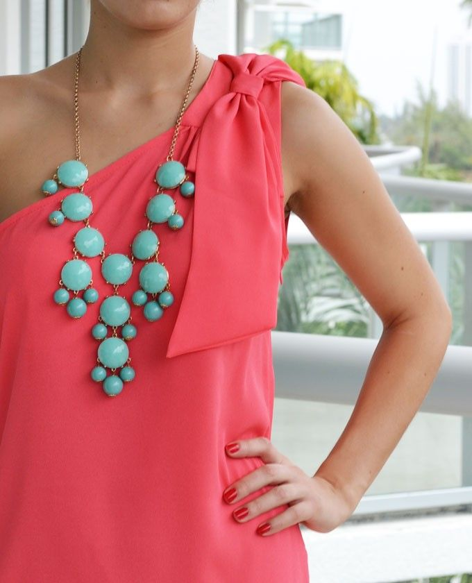 Coral dress with turquoise necklaces bridesmaids wedding for Jewelry to wear with coral dress
