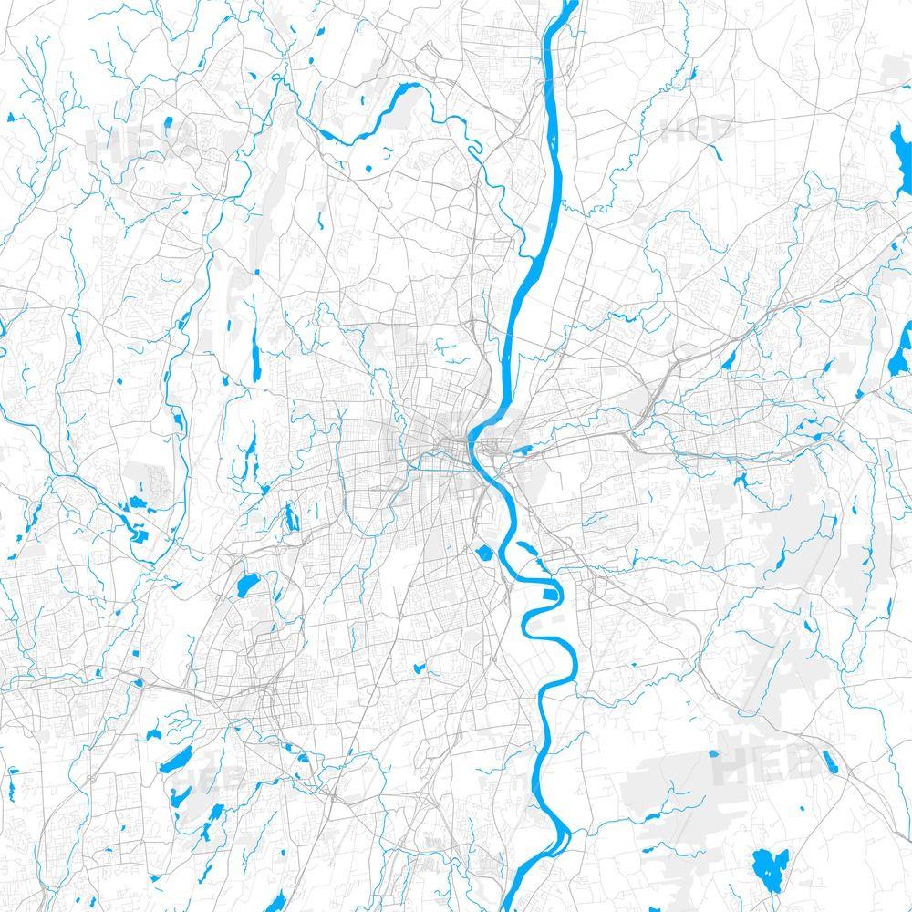Rich detailed vector map of Hartford, Connecticut, USA   Streit