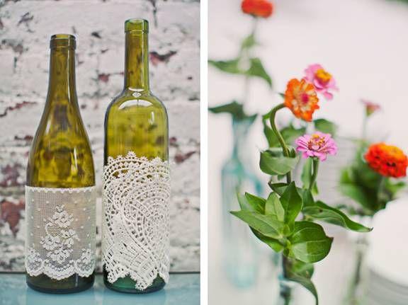 Ideas For Wine Bottle Decoration Diy Wine Bottle Doilies Decorating Wine Bottles Bride Bop  The