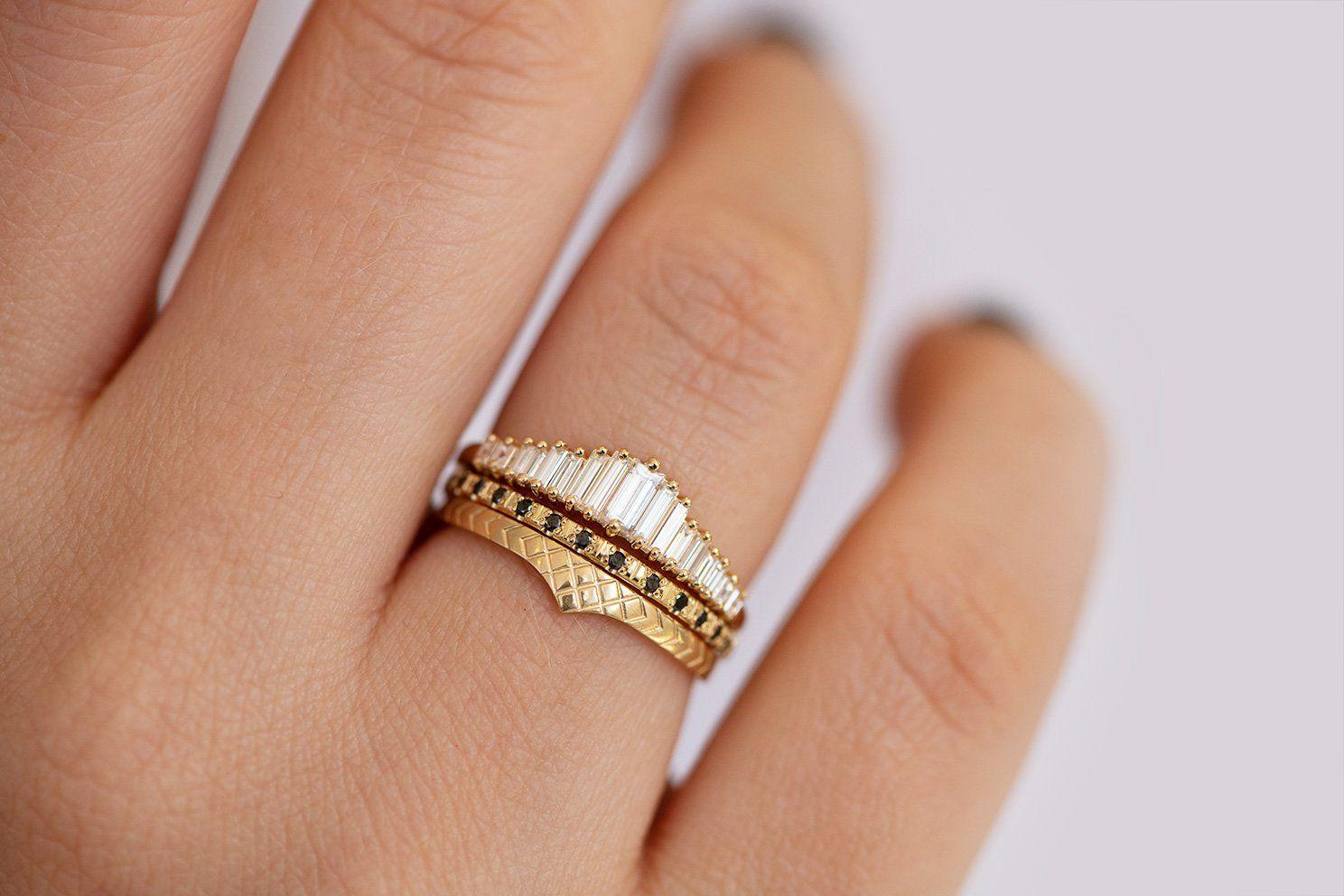 Delicate Wedding Band Patterned Ring Artemer Diamond Wedding Bands Rose Gold Engagement Ring Vintage Engagement Rings