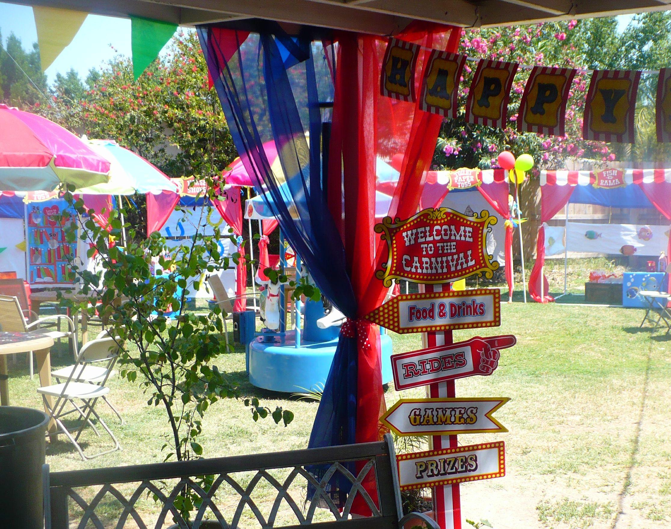 Backyard carnival theme birthday party. | Carnival ...
