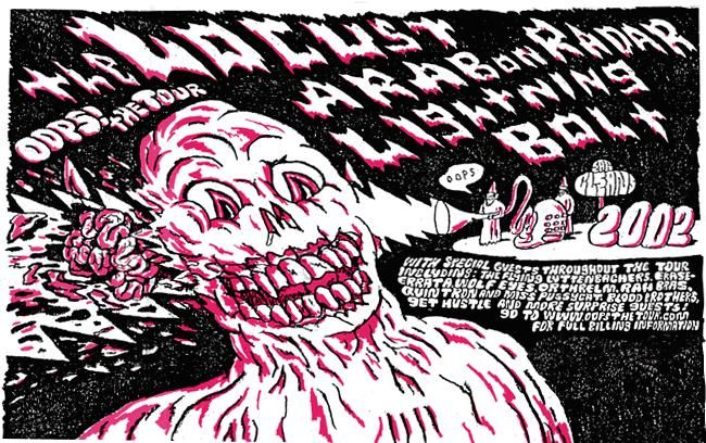 The Locust / Arab on Radar / Lightning Bolt , 'OOPS' Tour 2002 | Affiche