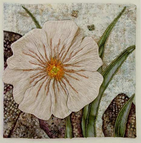 herminehesse: White Poppy - Thom Atkins - Embellished quilting...