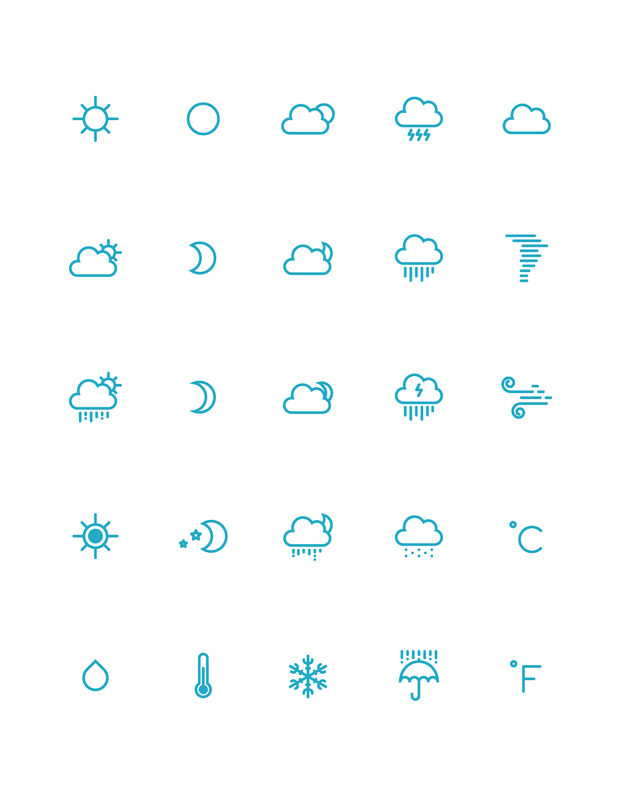 Free weather icons ai free graphic design icon outline weather icons on behance biocorpaavc Image collections