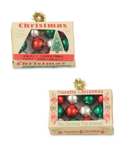 cute miniature ornaments in a box ornaments a lovely addition to a small christmas tree set of 2 mini christmas ornament boxes 2 assorted - Small Christmas Ornaments