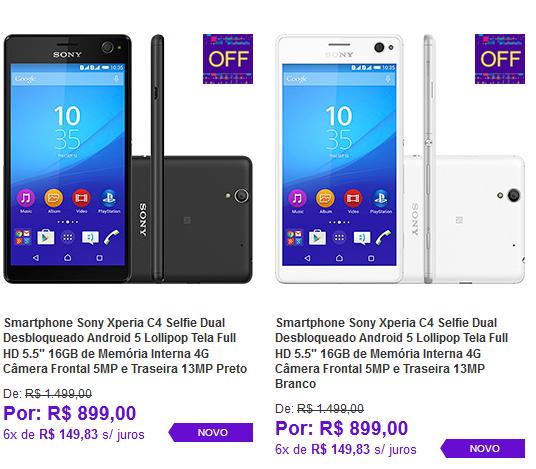 """Sony Xperia C4 Selfie Dual Android 5 Tela Full HD 5.5"""" 16GB 4G Câmera Frontal 5MP e Traseira 13MP << R$ 89900 em 6 vezes >>"""