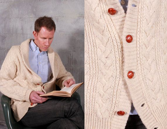 PENDLETON Wool Mens Large CARDIGAN Country Traditional 70s Cream ...
