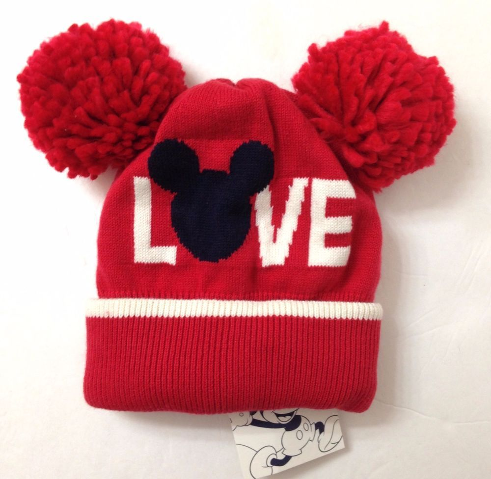 a595aa74180 NEW Baby Gap MICKEY MOUSE LOVE POM BEANIE Disney Red Ears Winter Knit Hat  Girls  Gap  Beanie