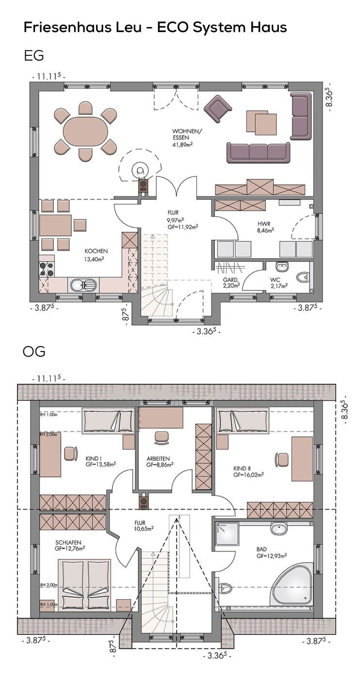 Grundrisse einfamilienh user mit 3 kinderzimmer wohn design for Hauser plane einfamilienhaus