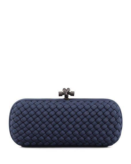 Navy Blue Women Handbag For Wedding Guest This Richly Textured Bottega Veneta Woven Clutch Displays