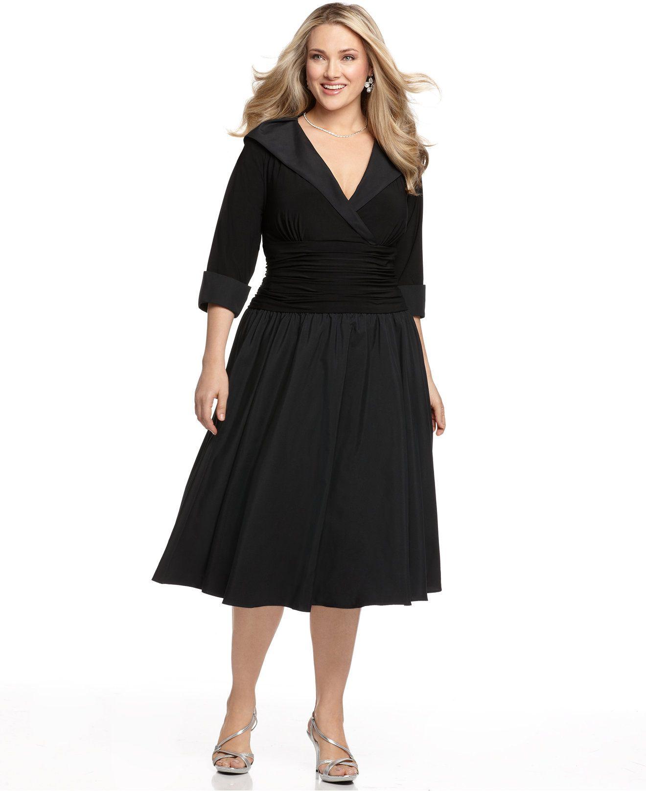 78320cd7521 Jessica Howard Plus Size Portrait Collar A-Line Dress - Dresses - Plus  Sizes - Macy s