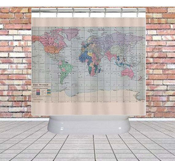 World map shower curtain kids bathroom fabric home decor world map shower curtain kids bathroom fabric home decor bathroom travel blue pastel historical vintage map redecorate gumiabroncs Images