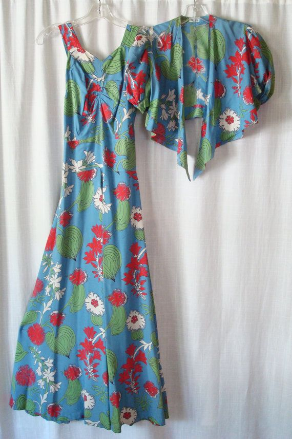 RESERVED Vintage 1930s RAYON Lounging Beach Pajama Jumpsuit w/ Cover Up. $240.00, via Etsy.