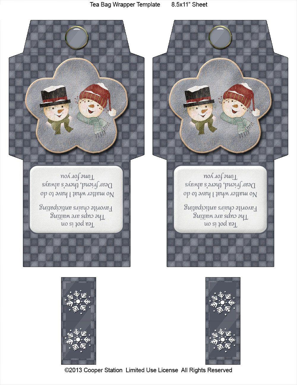 Digital Tea Bag Wrapper Snow Friends от CooperStation на Etsy