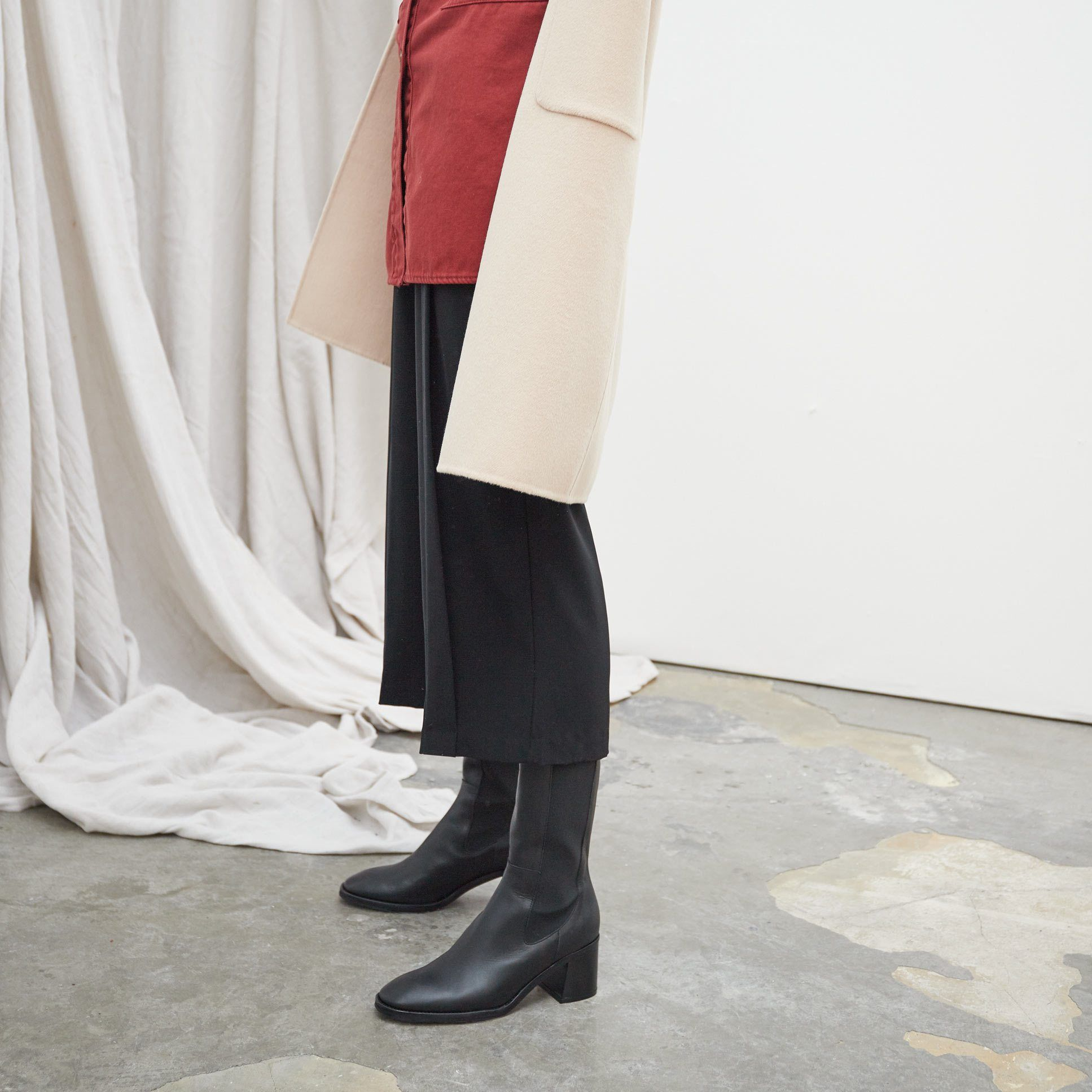 Macy Black Leather Slip-On Boots