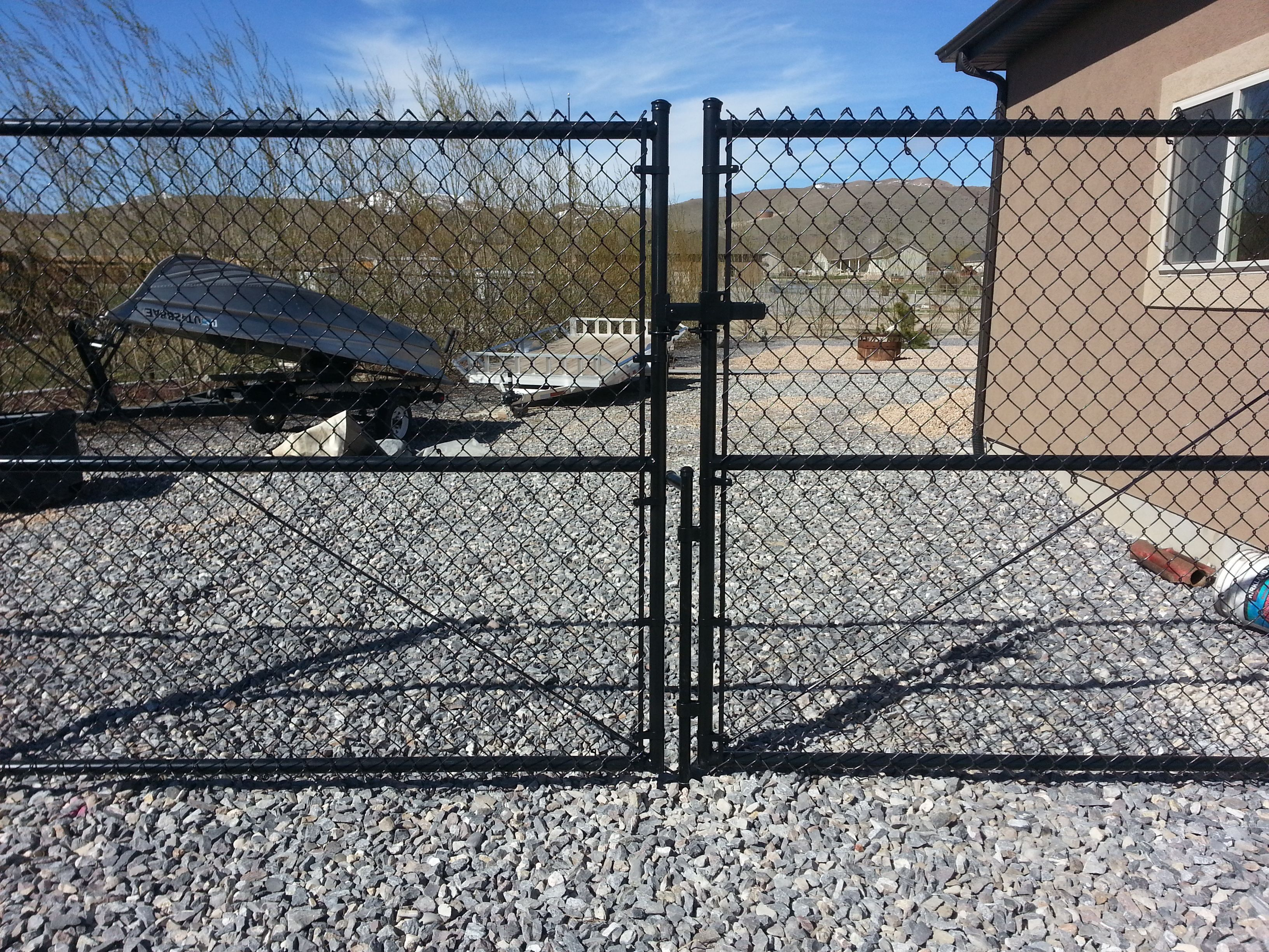 Double Gate Chainlink Black Vinyl Coated Wire 6 High