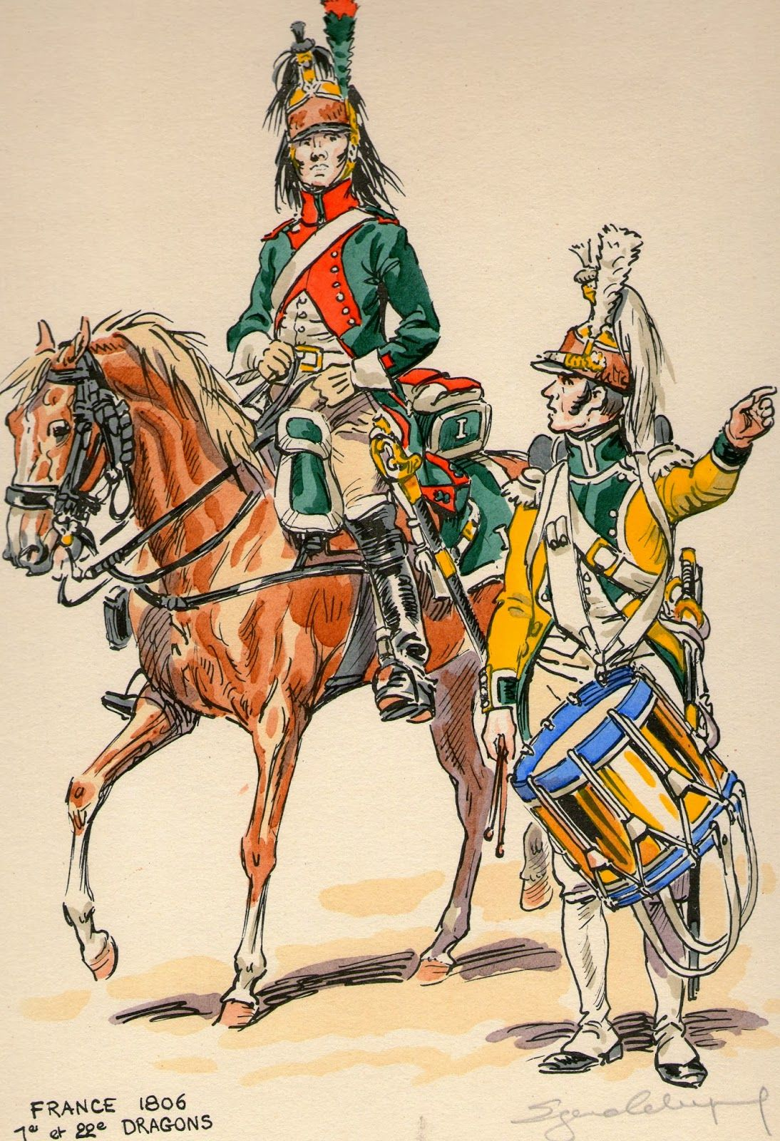 French; 1st Dragoons dragoon & 22nd Dragoons, Drummer on dismounted service 1806 by Eugene Leliepvre