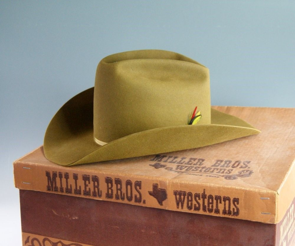 Vintage Miller Brothers Western Wool Felt Cowboy Hat Size 7 1 4 MIB Never  Used  328961cddc4e
