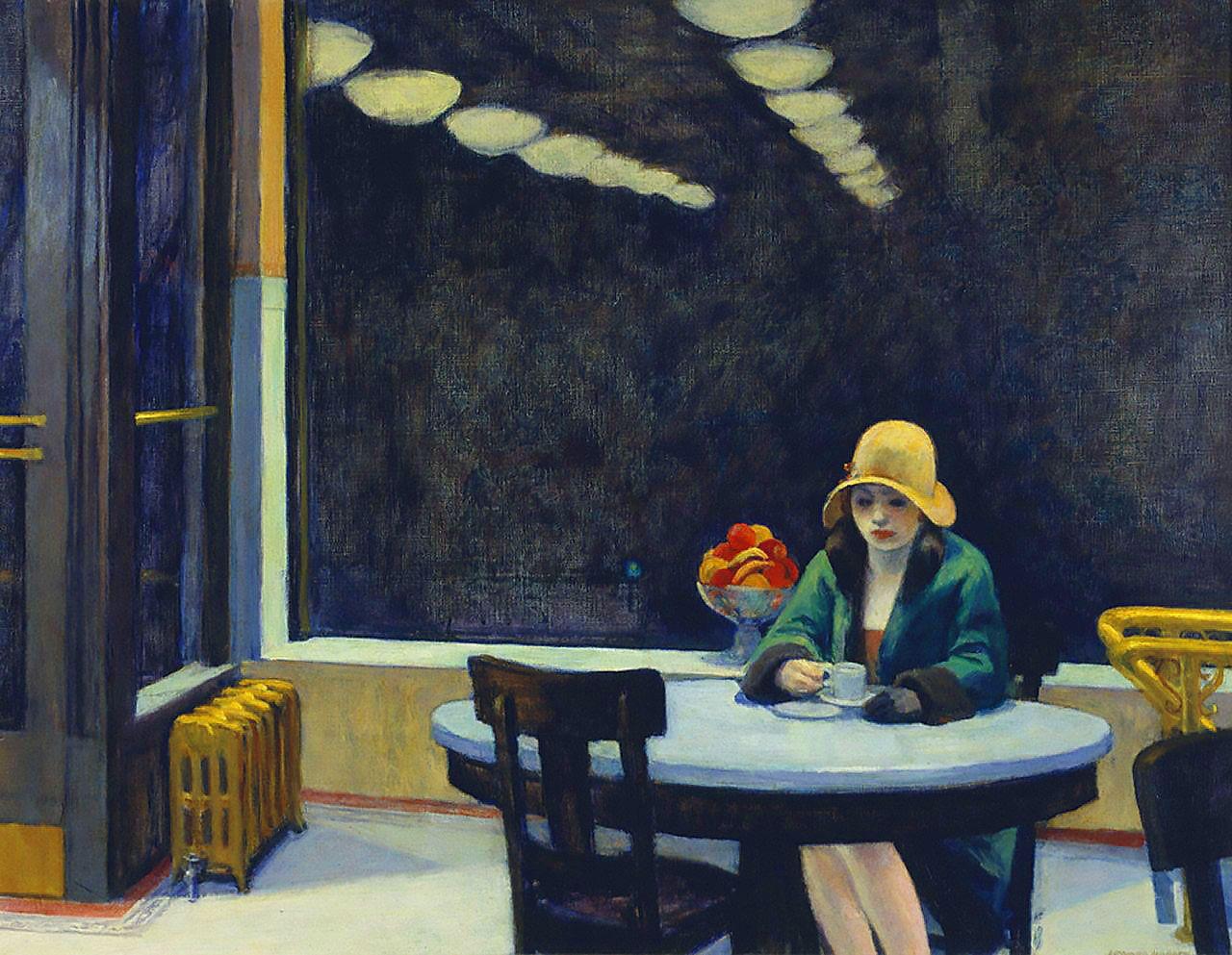 """Edward Hopper - """"Automat"""" (1927, óleo sobre lienzo, 71 x 89 cm, Des Moines Art Center, Des Moines)Casi treinta años después de que Picasso pintase a esa mujer tan triste bebiendo absenta en un bar (http://goo.gl/T4zGIP), Edward Hopper vuelve a abordar el tema, aunque de manera algo más light. La mujer de este cuadro no está dándole al tarro, como las que hemos visto a lo largo de estos días, sino tomándose un café. Aunque la verdad es que no importa demasiado ya que, en todas estas obras…"""