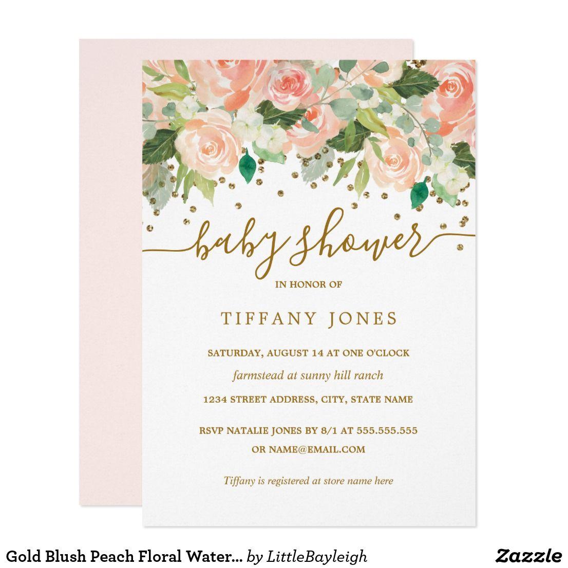 Gold Blush Peach Floral Watercolor Baby Shower Invitation | Zazzle.com |  Watercolor bridal shower invitations, Floral baby shower invitations,  Watercolor baby shower invitations