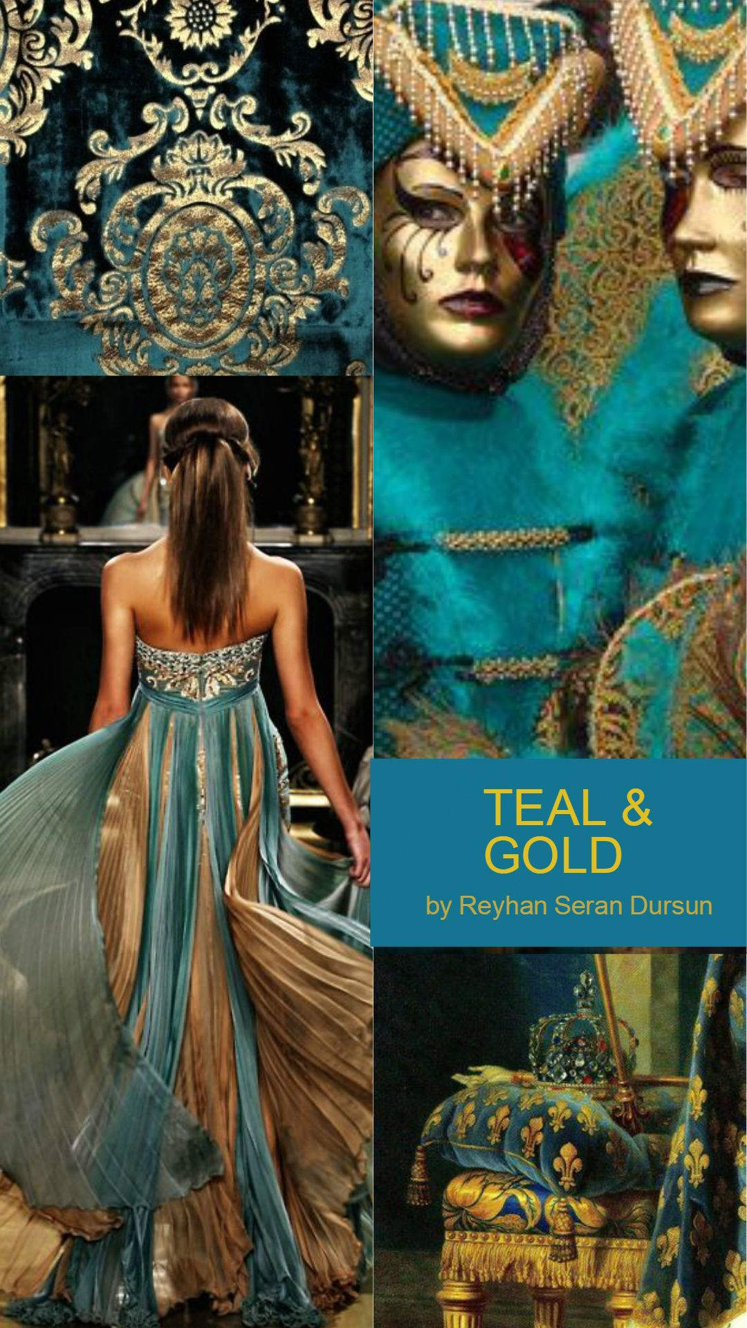 '' Teal & Gold ''by Reyhan Seran Dursun #collageboard