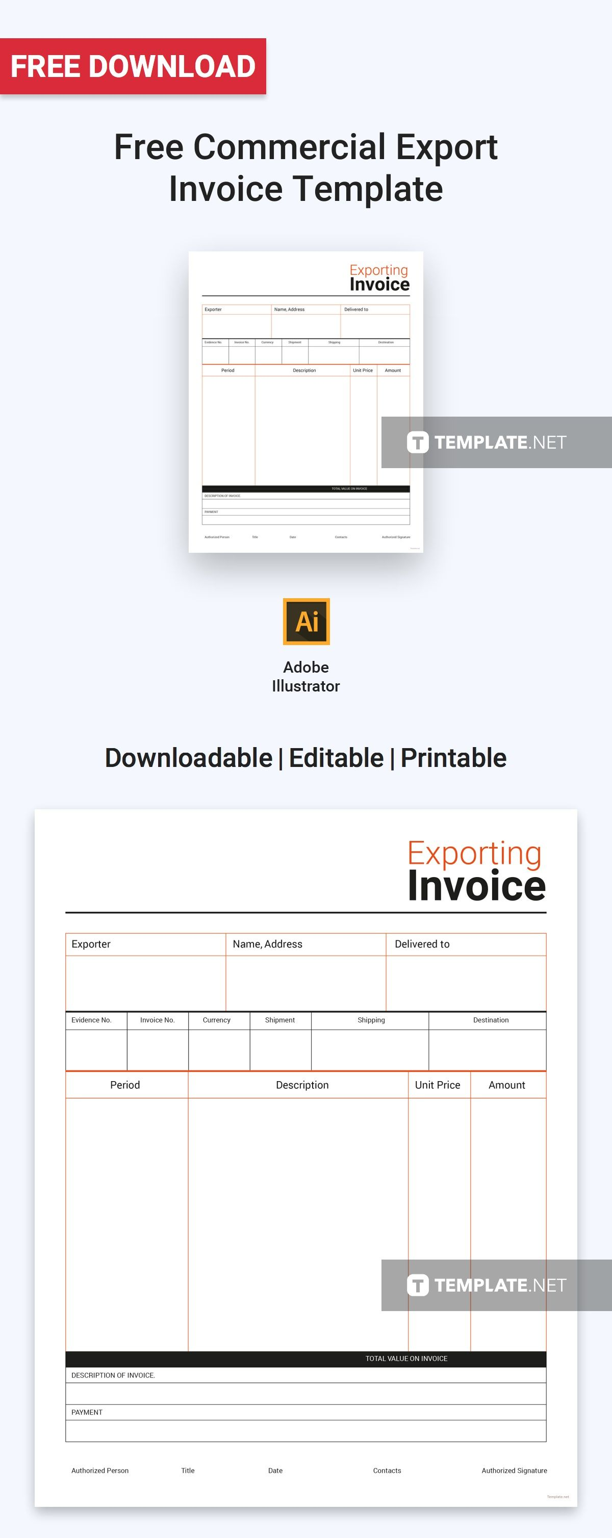 Commercial Export Invoice Template Free Pdf Word Excel Psd Apple Pages Google Docs Google Sheets Illustrator Apple Numbers Invoice Template Invoice Design Template Templates