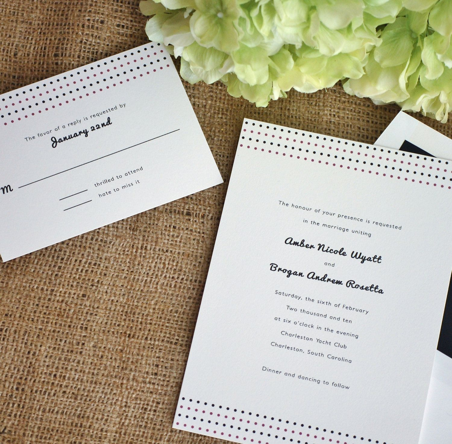 SAMPLE Modern Wedding Invitations and RSVP