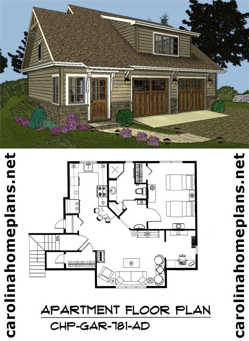 Craftsman style 2 car garage apartment plan live in the for Small garage apartment plans