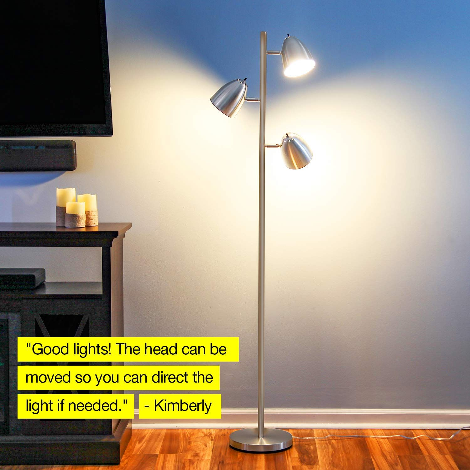 Brightech Jacob Led Reading And Floor Lamp For Living Rooms And Bedrooms Classy Mid Century Modern Adjustable 3 Light Lamps Living Room Pole Lamps Floor Lamp