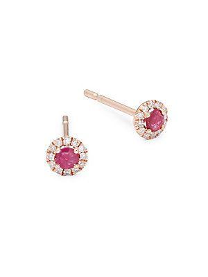 Meira T 14k Gold Ruby & Diamond Stud Earrings gupW2s41wL
