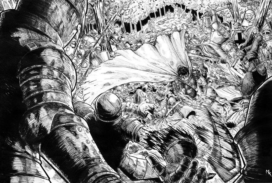 guts VS a 100 men by loneHUNGRYwolf.deviantart.com on @deviantART (manga) |  Berserk, Fighting poses, Guts